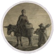 The Departure For Work Round Beach Towel by Jean-Francois Millet