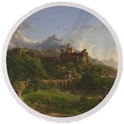 The Departure Round Beach Towel by Thomas Cole