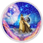 Round Beach Towel featuring the digital art The Depth Of Gods Love by Dolores Develde