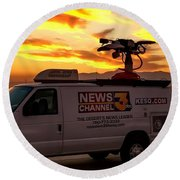 The Deserts News Leader Round Beach Towel by Chris Tarpening