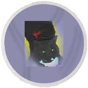The Devils Mask Round Beach Towel