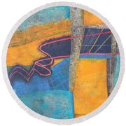 Round Beach Towel featuring the mixed media The Digital Age by Nancy Jolley