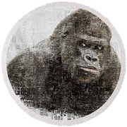The Dignity Of A Gorilla Round Beach Towel