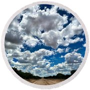 The Dirt Road Detour To Heaven Round Beach Towel