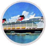 The Disney Dream In Nassau Round Beach Towel