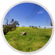 The Distant Hill Round Beach Towel by Douglas Barnard