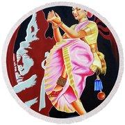 The Divine Dance Of Bharatanatyam Round Beach Towel by Ragunath Venkatraman