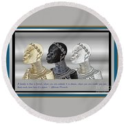 Round Beach Towel featuring the digital art The Divine Sisters by Jacqueline Lloyd