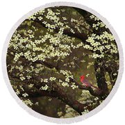 The Dogwoods And The Cardinal Round Beach Towel