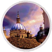 The Domes Of Immaculate Conception, Cuenca, Ecuador Round Beach Towel