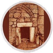 Round Beach Towel featuring the painting The Door Of Humility At The Church Of The Nativity Bethlehem by Georgeta Blanaru