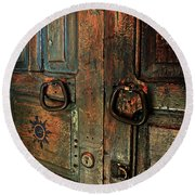 The Door Of Many Colors Round Beach Towel