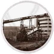 The Dorrance Coal Breaker Wilkes Barre Pennsylvania 1983 Round Beach Towel