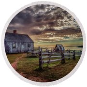 Round Beach Towel featuring the photograph The Doucet House by Chris Bordeleau