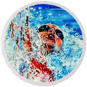 Round Beach Towel featuring the painting The Dream Becomes Reality by Hanne Lore Koehler