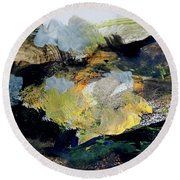 Round Beach Towel featuring the painting The Dream Of Gold by Nancy Kane Chapman
