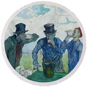The Drinkers After Daumier   Round Beach Towel