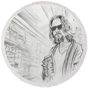 The Dude Abides Round Beach Towel