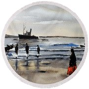 The Dun Aengus Off Aran, Galway Round Beach Towel