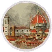 The Duomo Florence Round Beach Towel by Brian Tarr