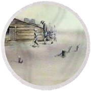 Round Beach Towel featuring the painting The Dustbowl by Ed Heaton