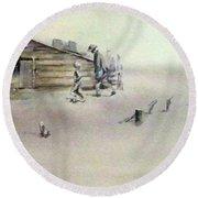 The Dustbowl Round Beach Towel by Ed Heaton