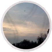Round Beach Towel featuring the photograph The Eagle Has Flown by Kent Lorentzen
