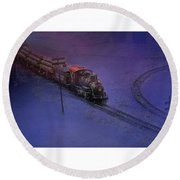 The Early Train Round Beach Towel