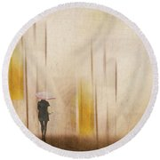 Round Beach Towel featuring the photograph The Edge Of Autumn by LemonArt Photography