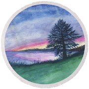 The Edge Of Evening Round Beach Towel
