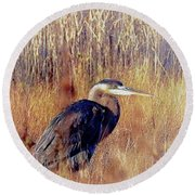 The Egret Round Beach Towel by Allen Beilschmidt