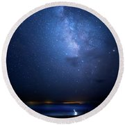 Round Beach Towel featuring the photograph The Egret And The Milky Way by Mark Andrew Thomas