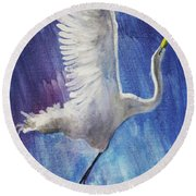 The Egret Round Beach Towel by Seth Weaver