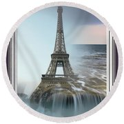 The Eiffel Tower In Montage Round Beach Towel