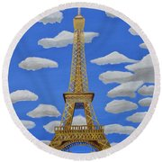 Round Beach Towel featuring the painting The Eiffel Tower  by Magdalena Frohnsdorff