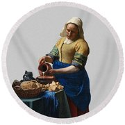 The Elegance Of The Kitchen Maid Round Beach Towel
