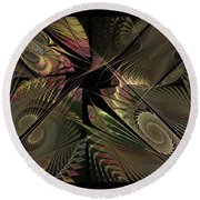 Round Beach Towel featuring the digital art The Elementals - Calling The Corners by NirvanaBlues
