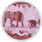 The Elephant March Round Beach Towel