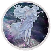 The Emancipation Of Galatea Round Beach Towel by Amyla Silverflame