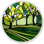 The Emerald Glass Forest Round Beach Towel