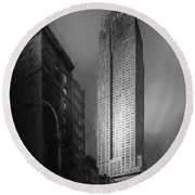 Round Beach Towel featuring the photograph The Empire State Ch by Marvin Spates