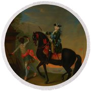 Round Beach Towel featuring the painting The Empress Elizabeth Of Russia by Georg Grooth