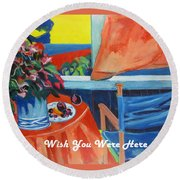The Empty Blue Canvas Chair Round Beach Towel