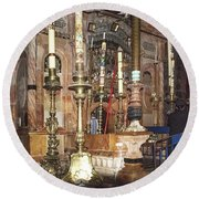 Round Beach Towel featuring the photograph The Empty Tomb Of Christ by Mae Wertz