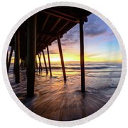 The Enchanted Pier Round Beach Towel