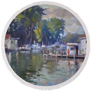 The End Of A Beautiful Day By The Boat Houses Round Beach Towel