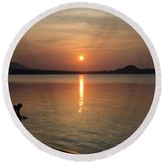 The End Of A Hot Day Round Beach Towel by Michelle Meenawong