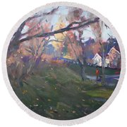 The End Of Autumn Day In Glen Williams On Round Beach Towel