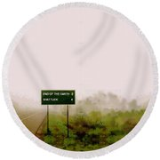 The End Of The Earth Round Beach Towel