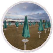 The End Of The Season In Rimini Round Beach Towel
